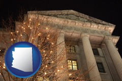 az map icon and the Internal Revenue Service building in Washington, DC