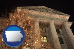 ia map icon and the Internal Revenue Service building in Washington, DC