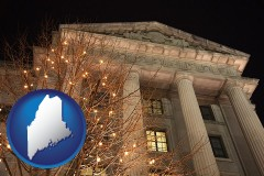 me map icon and the Internal Revenue Service building in Washington, DC