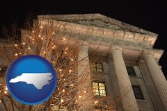 nc map icon and the Internal Revenue Service building in Washington, DC