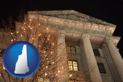 nh map icon and the Internal Revenue Service building in Washington, DC