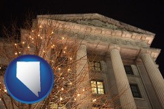 nv map icon and the Internal Revenue Service building in Washington, DC