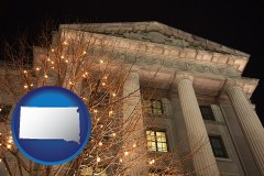 sd map icon and the Internal Revenue Service building in Washington, DC