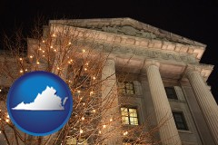 va map icon and the Internal Revenue Service building in Washington, DC