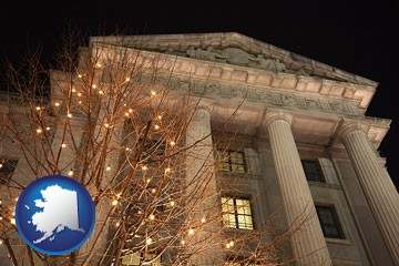the Internal Revenue Service building in Washington, DC - with Alaska icon