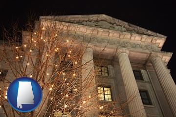 the Internal Revenue Service building in Washington, DC - with Alabama icon