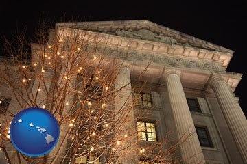 the Internal Revenue Service building in Washington, DC - with Hawaii icon