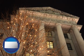 the Internal Revenue Service building in Washington, DC - with Kansas icon