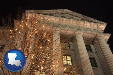 the Internal Revenue Service building in Washington, DC - with Louisiana icon