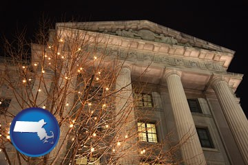the Internal Revenue Service building in Washington, DC - with Massachusetts icon