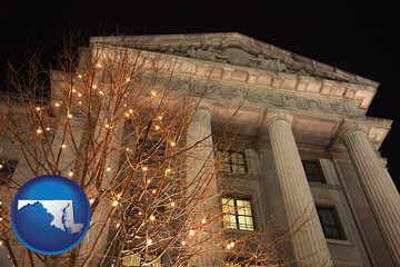 the Internal Revenue Service building in Washington, DC - with Maryland icon