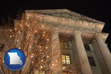 the Internal Revenue Service building in Washington, DC - with Missouri icon