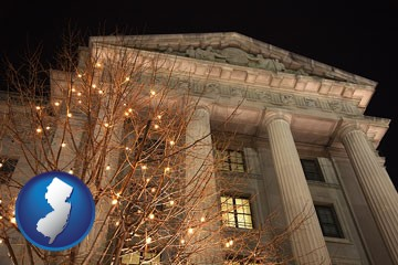the Internal Revenue Service building in Washington, DC - with New Jersey icon