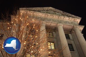 the Internal Revenue Service building in Washington, DC - with New York icon