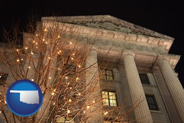 the Internal Revenue Service building in Washington, DC - with Oklahoma icon