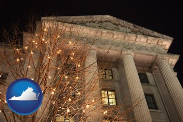 the Internal Revenue Service building in Washington, DC - with Virginia icon