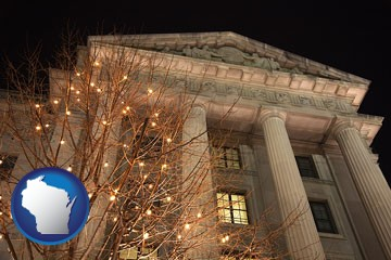 the Internal Revenue Service building in Washington, DC - with Wisconsin icon