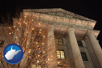 the Internal Revenue Service building in Washington, DC - with West Virginia icon
