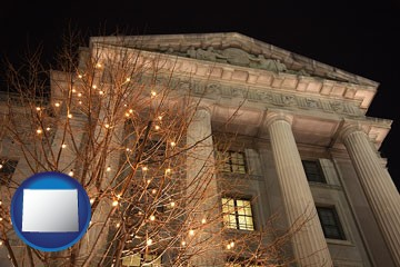 the Internal Revenue Service building in Washington, DC - with Wyoming icon